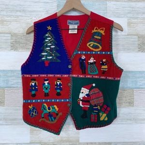 Wool Christmas Sweater Vest Red Erika Classic